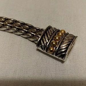 Magnetic silver/gold tone bracelet w/earrings
